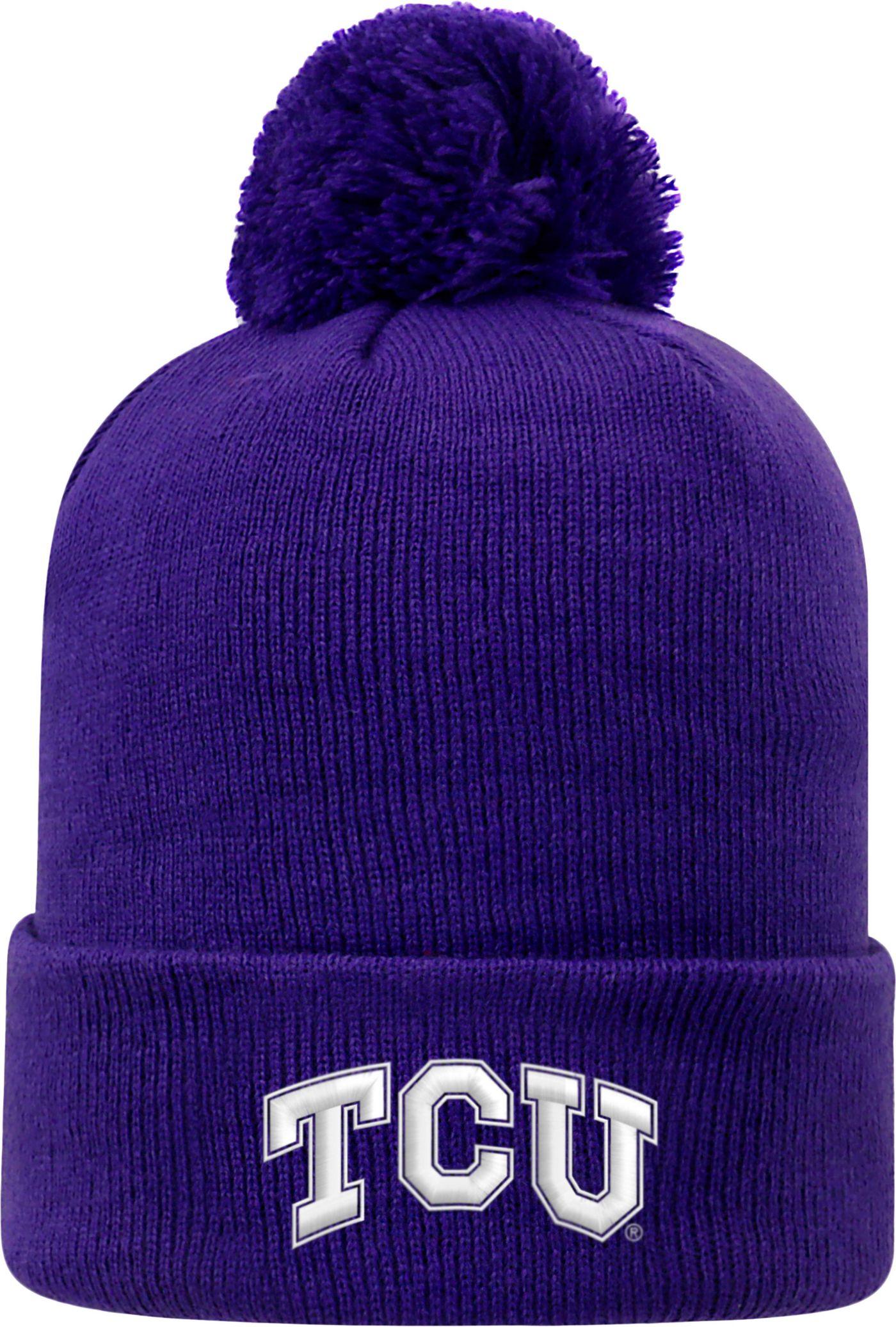 Top of the World Men's TCU Horned Frogs Purple Pom Knit Beanie