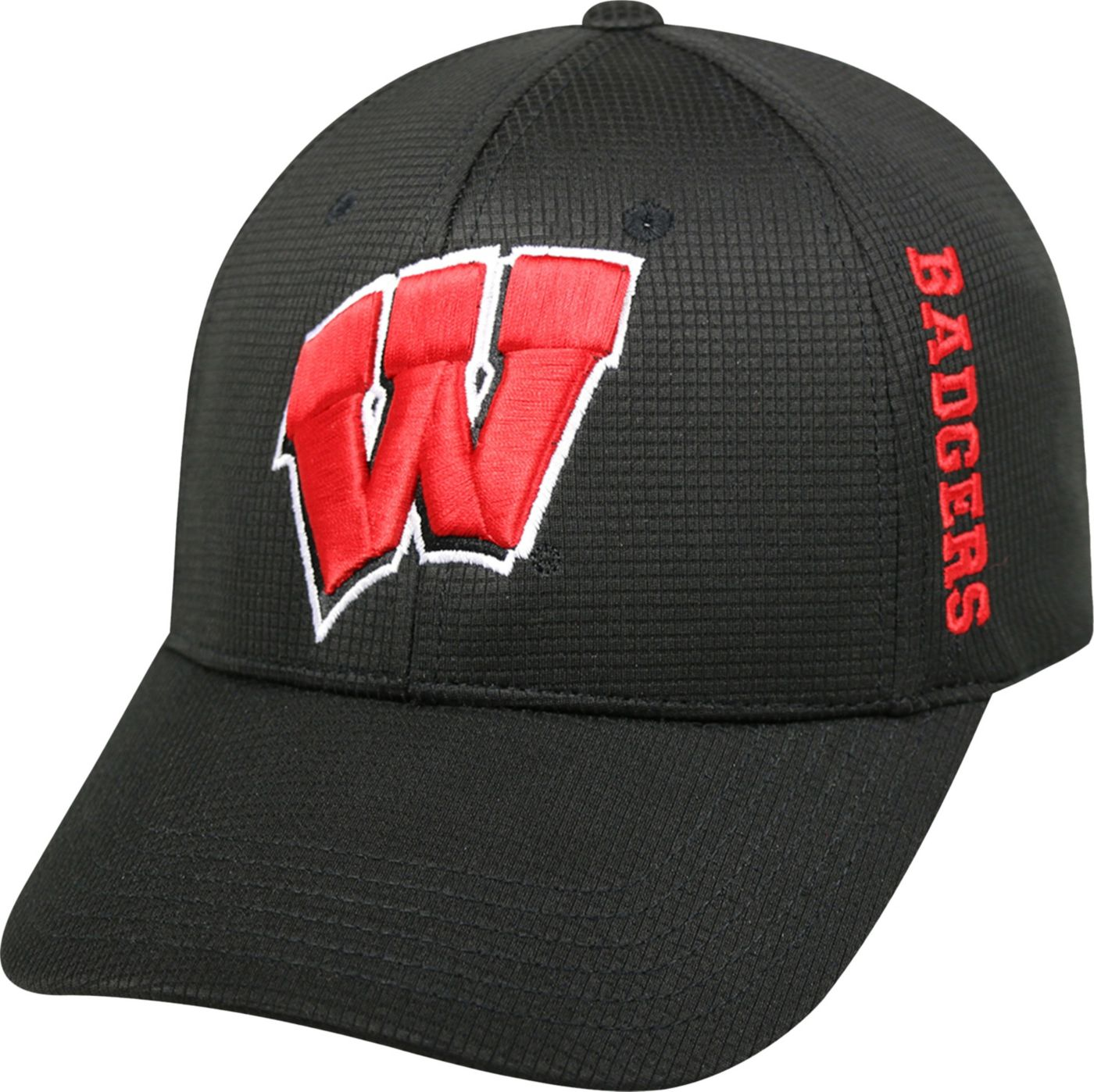 Top of the World Men's Wisconsin Badgers Black Booster Plus 1Fit Flex Hat