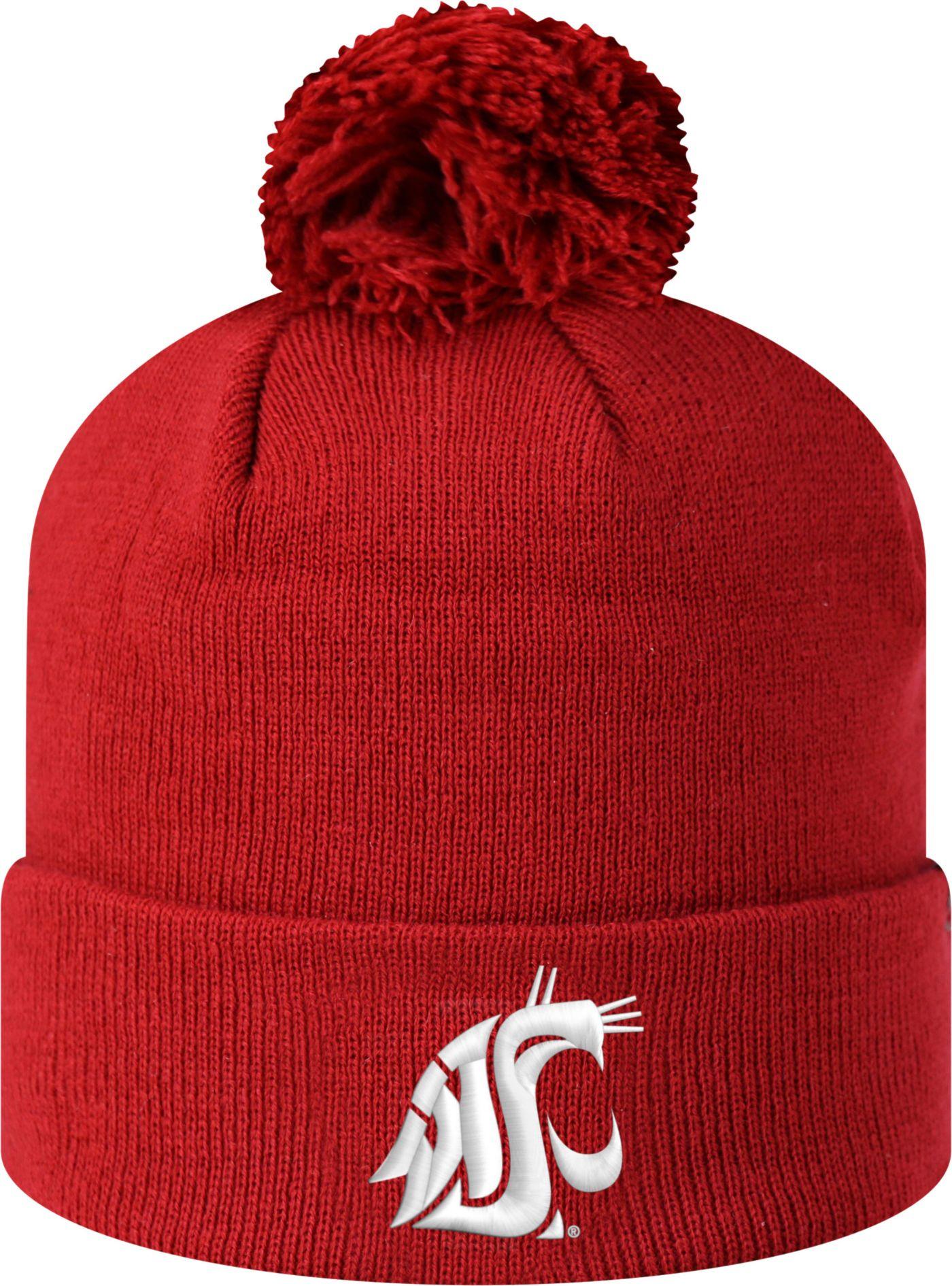 Top of the World Men's Washington State Cougars Crimson Pom Knit Beanie