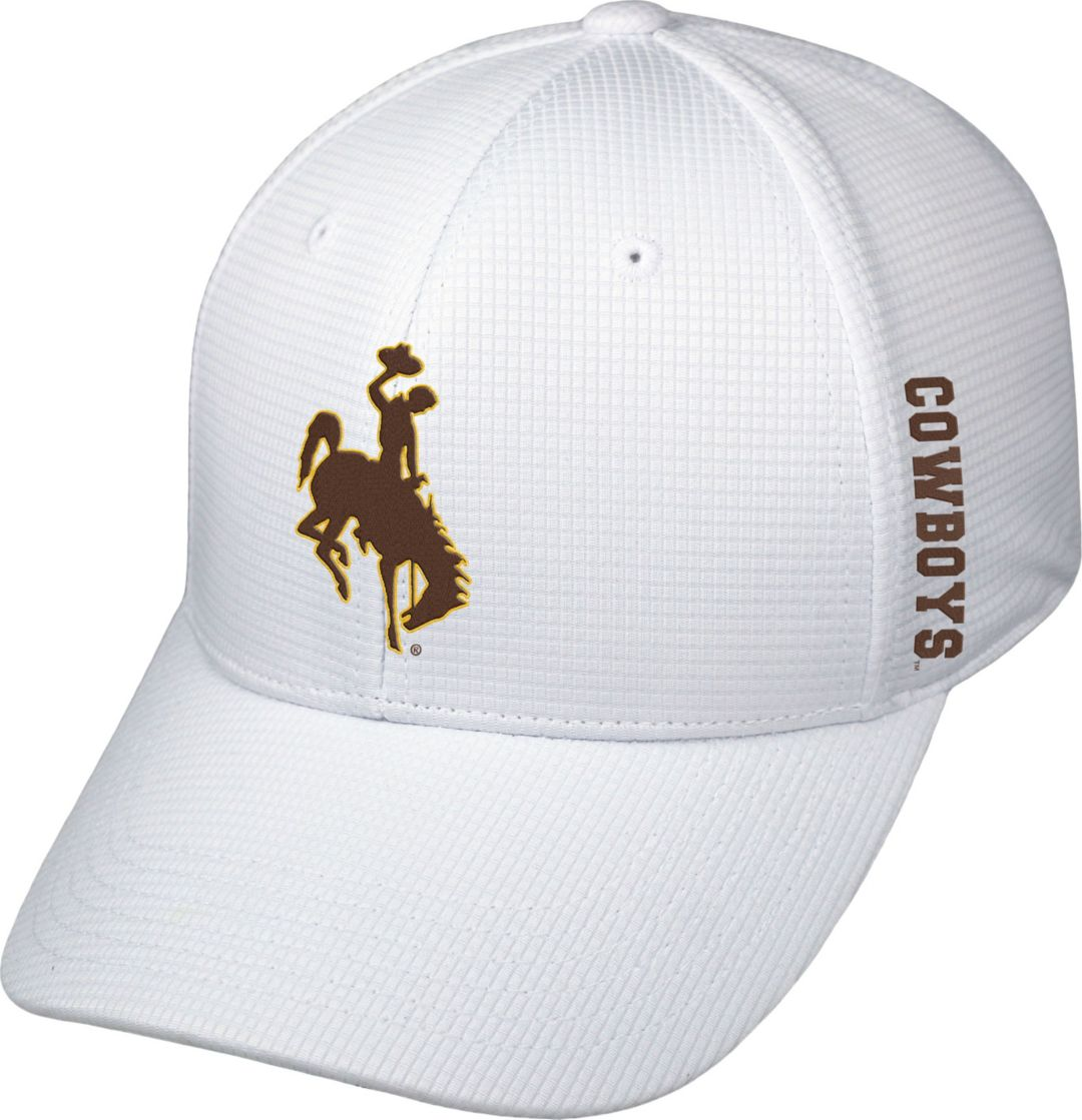 Top of the World Men's Wyoming Cowboys White Booster Plus 1Fit Flex Hat