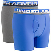 49d5ce7c279b Product Image · Under Armour Boys' Solid Performance Boxer Briefs – 2 Pack  · Blue/Grey · HI Vis Yellow/Black ...