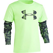 Under Armour Little Boys' Utility Camo Big Logo Graphic Slider Long Sleeve Shirt