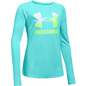 Under Armour Girls' Big Logo Slash Graphic Long Sleeve Shirt