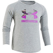 Under Armour Little Girls' Rush Split Logo Long Sleeve Shirt