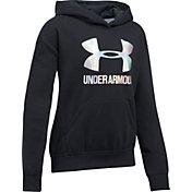 Under Armour Girls' Threadborne Fleece Metallic Big Logo Hoodie