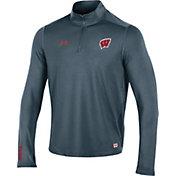 Under Armour Men's Wisconsin Badgers Grey Football Sideline Reactor Quarter-Zip Shirt
