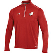 Under Armour Men's Wisconsin Badgers Red Football Sideline Microthread Quarter-Zip Shirt