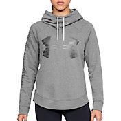 Under Armour Women's Favorite Fleece Metallic Stripe Big Logo Hoodie