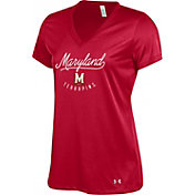 Under Armour Women's Maryland Terrapins Red Tech V-Neck Performance T-Shirt