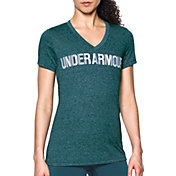 Under Armour Women's Threadborne Twist Print Graphic V-Neck T-Shirt