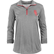USC Authentic Apparel Women's USC Trojans Grey Rockland Quarter-Zip Shirt