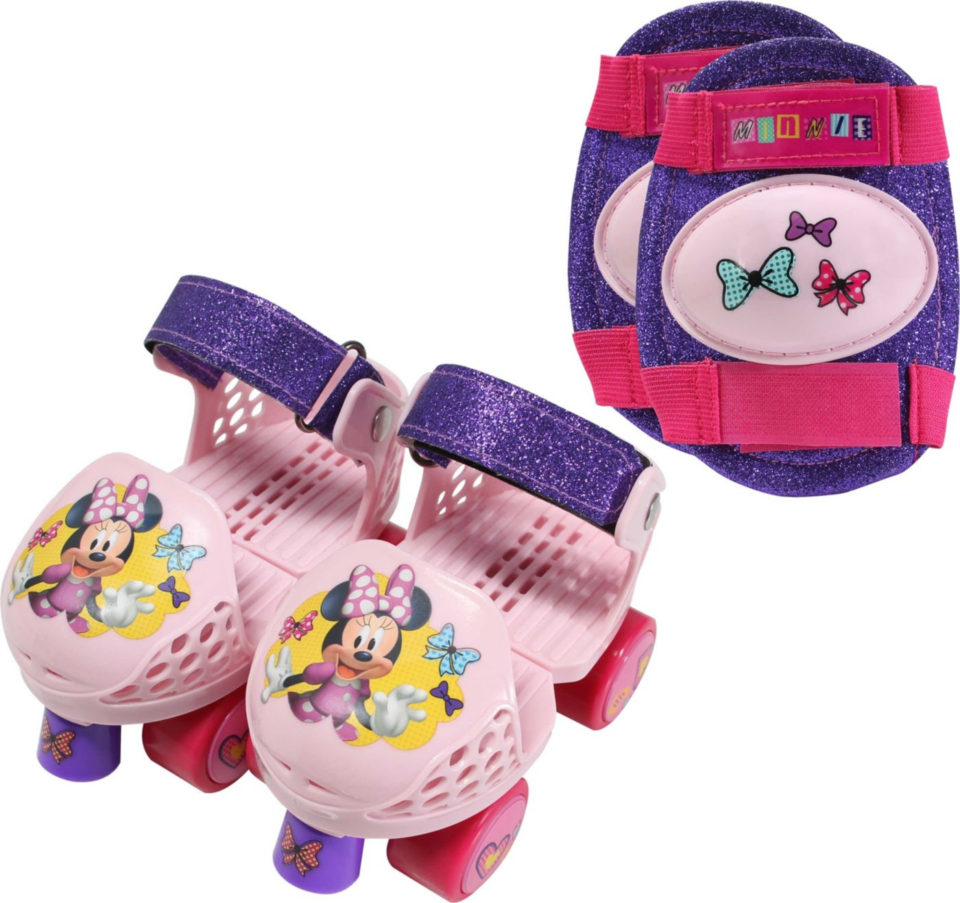 Playhweels Girls' Disney Minnie Mouse Roller Skates and Knee Pads