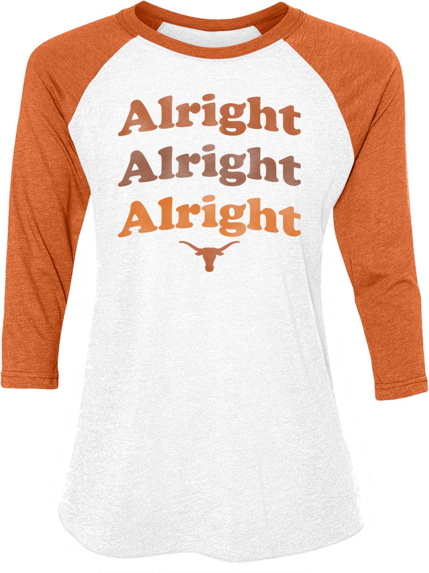University of Texas Authentic Apparel Women's Texas Longhorns Burnt Orange 'Alright Alright Alright' Raglan T-Shirt