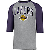 '47 Men's Los Angeles Lakers Raglan Three-Quarter Sleeve Shirt