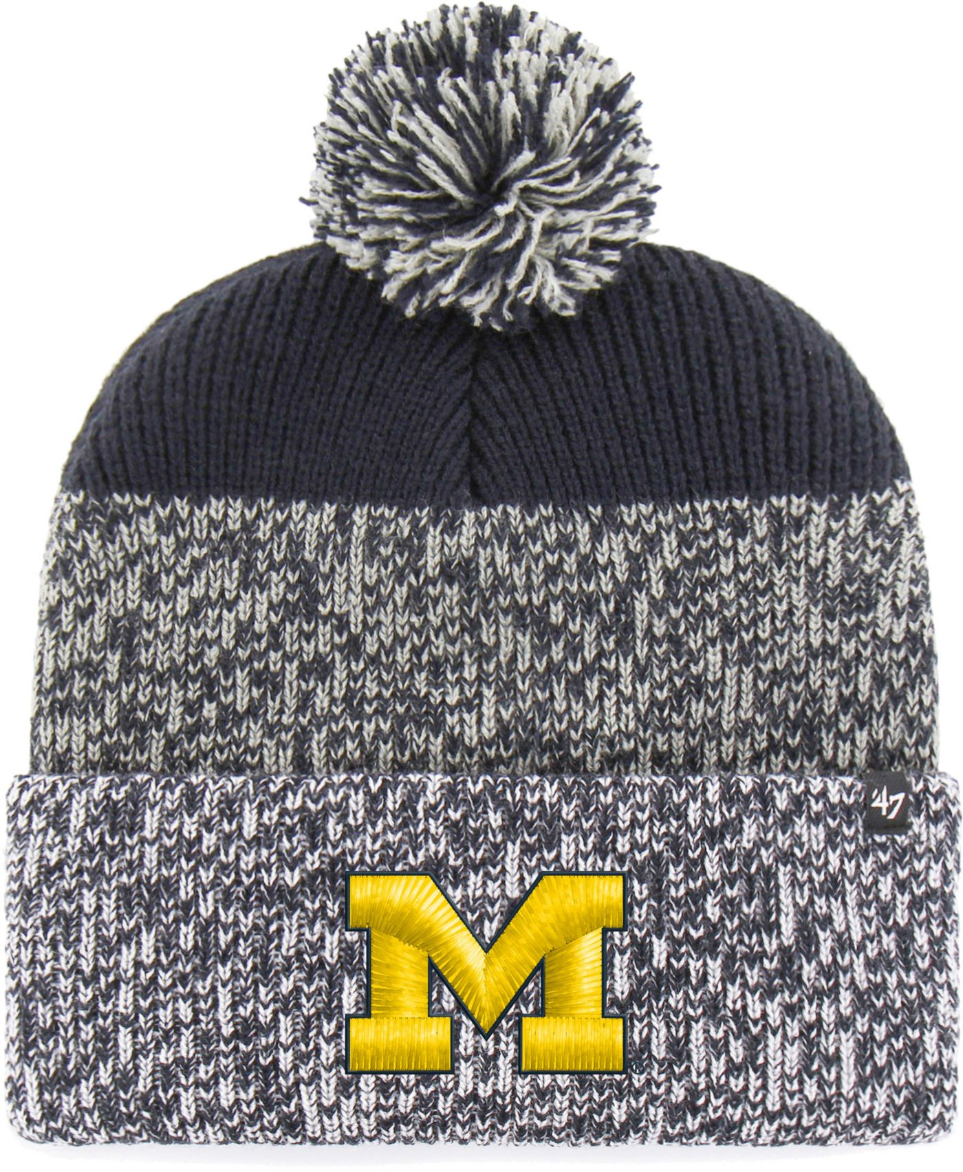 '47 Men's Michigan Wolverines Grey/Blue Static Cuffed Knit Hat