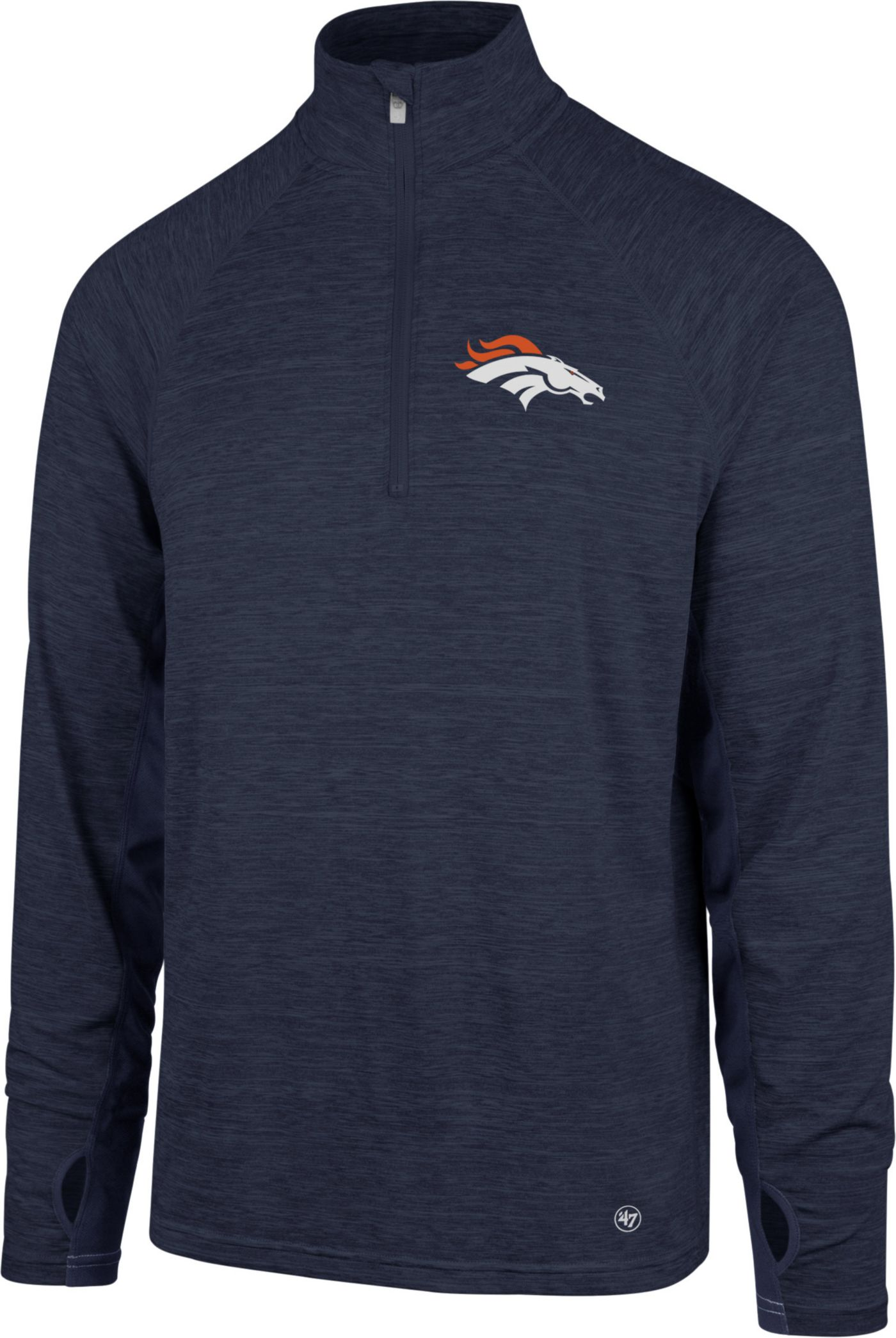 '47 Men's Denver Broncos Forward Navy Quarter-Zip Pullover