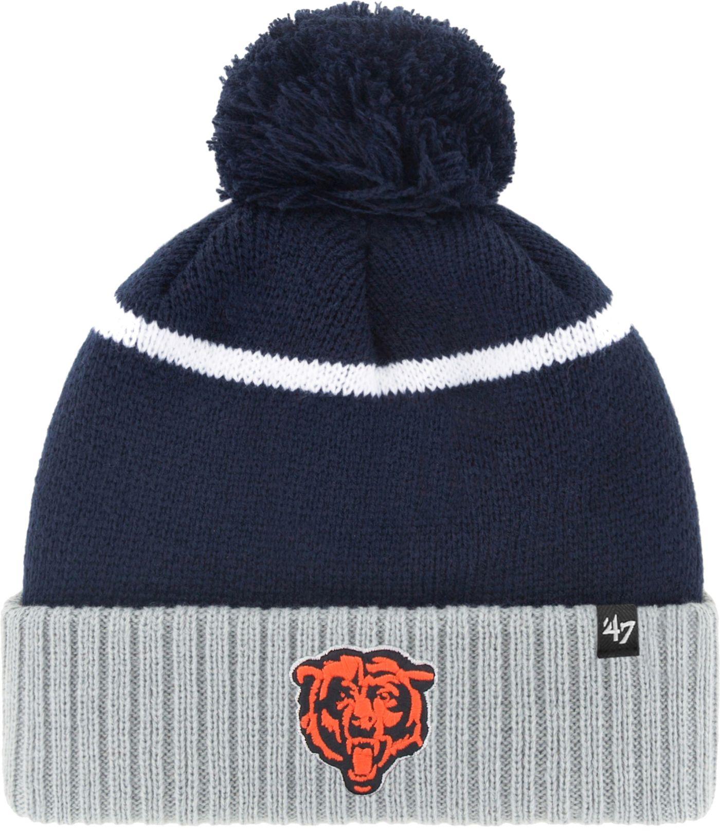 '47 Men's Chicago Bears Chop Block Navy Cuffed Pom Knit