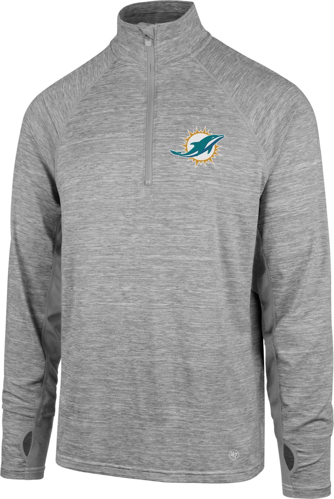 save off 51e1b 0cd4e '47 Men's Miami Dolphins Forward Grey Quarter-Zip Pullover