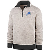 '47 Men's Detroit Lions Kodiak Quarter-Zip Oatmeal Top