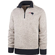 '47 Men's New England Patriots Kodiak Quarter-Zip Oatmeal Top