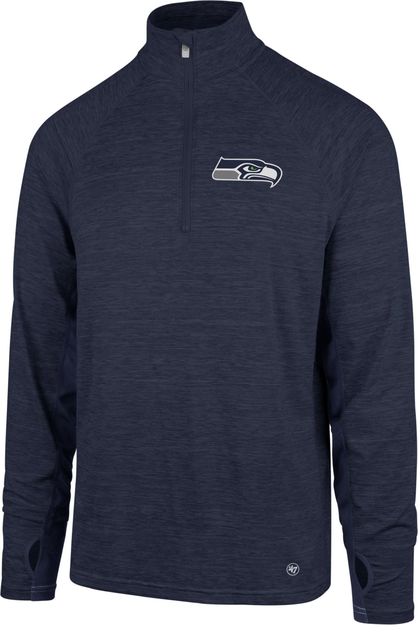 '47 Men's Seattle Seahawks Forward Navy Quarter-Zip Pullover
