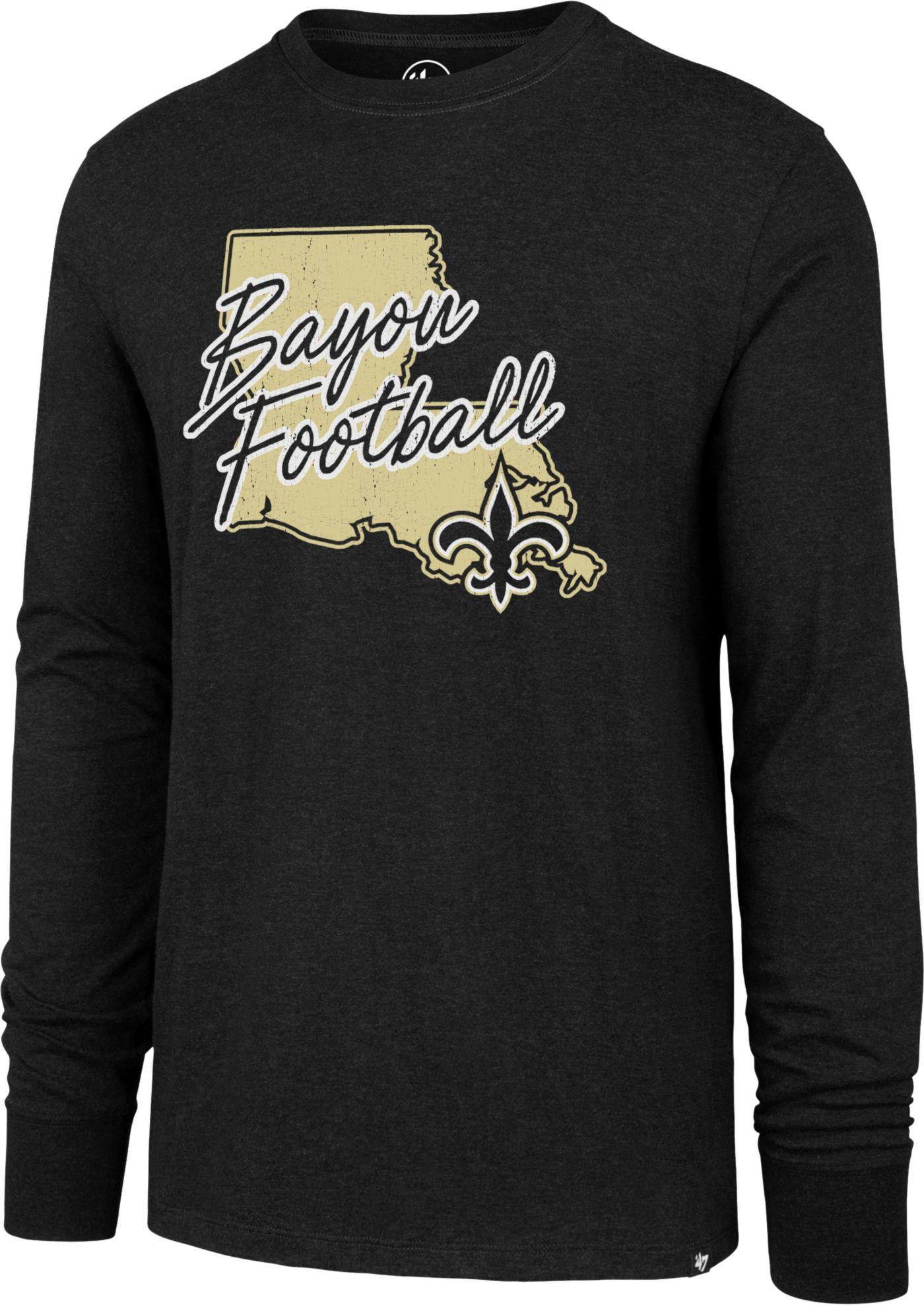 '47 Men's New Orleans Saints Bayou Football Club Black Long Sleeve Shirt