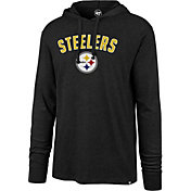 '47 Men's Pittsburgh Steelers Club Black Hooded Long Sleeve Shirt