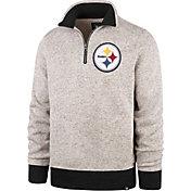 '47 Men's Pittsburgh Steelers Kodiak Quarter-Zip Oatmeal Top