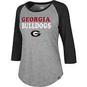 '47 Women's Georgia Bulldogs Grey/Red Three-Quarter Sleeve Club T-Shirt