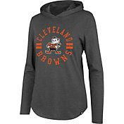 '47 Women's Cleveland Browns Club Grey Hooded Long Sleeve Shirt