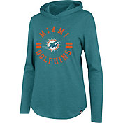 '47 Women's Miami Dolphins Club Aqua Hooded Long Sleeve Shirt