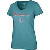 '47 Women's Miami Dolphins Sparkle Dip Aqua Scoop Neck T-Shirt