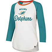 '47 Women's Miami Dolphins Splitter White Raglan Shirt