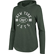 '47 Women's New York Jets Club Green Hooded Long Sleeve Shirt