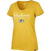 '47 Women's Green Bay Packers Sparkle Dip Gold Scoop Neck T-Shirt