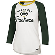 '47 Women's Green Bay Packers Splitter White Raglan Shirt