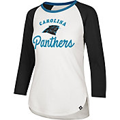 '47 Women's Carolina Panthers Splitter White Raglan Shirt