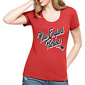 '47 Women's New England Patriots Script Red Scoop Neck T-Shirt