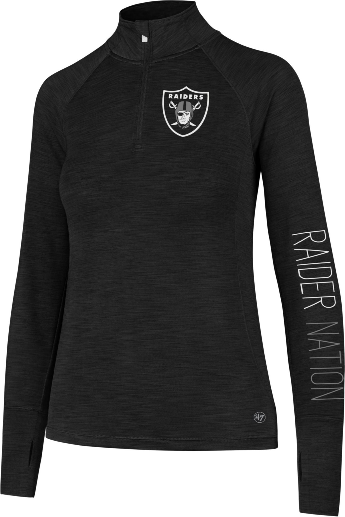 '47 Women's Oakland Raiders Shade Black Quarter-Zip Pullover