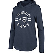 '47 Women's Los Angeles Rams Club Navy Hooded Long Sleeve Shirt