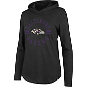 '47 Women's Baltimore Ravens Club Black Hooded Long Sleeve Shirt