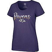 '47 Women's Baltimore Ravens Sparkle Dip Purple Scoop Neck T-Shirt