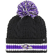 '47 Women's Baltimore Ravens Sorority Black Cuffed Pom Knit