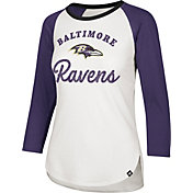 '47 Women's Baltimore Ravens Splitter White Raglan Shirt
