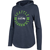 '47 Women's Seattle Seahawks Club Navy Hooded Long Sleeve Shirt