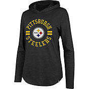 '47 Women's Pittsburgh Steelers Club Black Hooded Long Sleeve Shirt