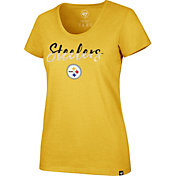 '47 Women's Pittsburgh Steelers Sparkle Dip Gold Scoop Neck T-Shirt