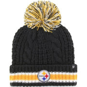'47 Women's Pittsburgh Steelers Sorority Black Cuffed Pom Knit