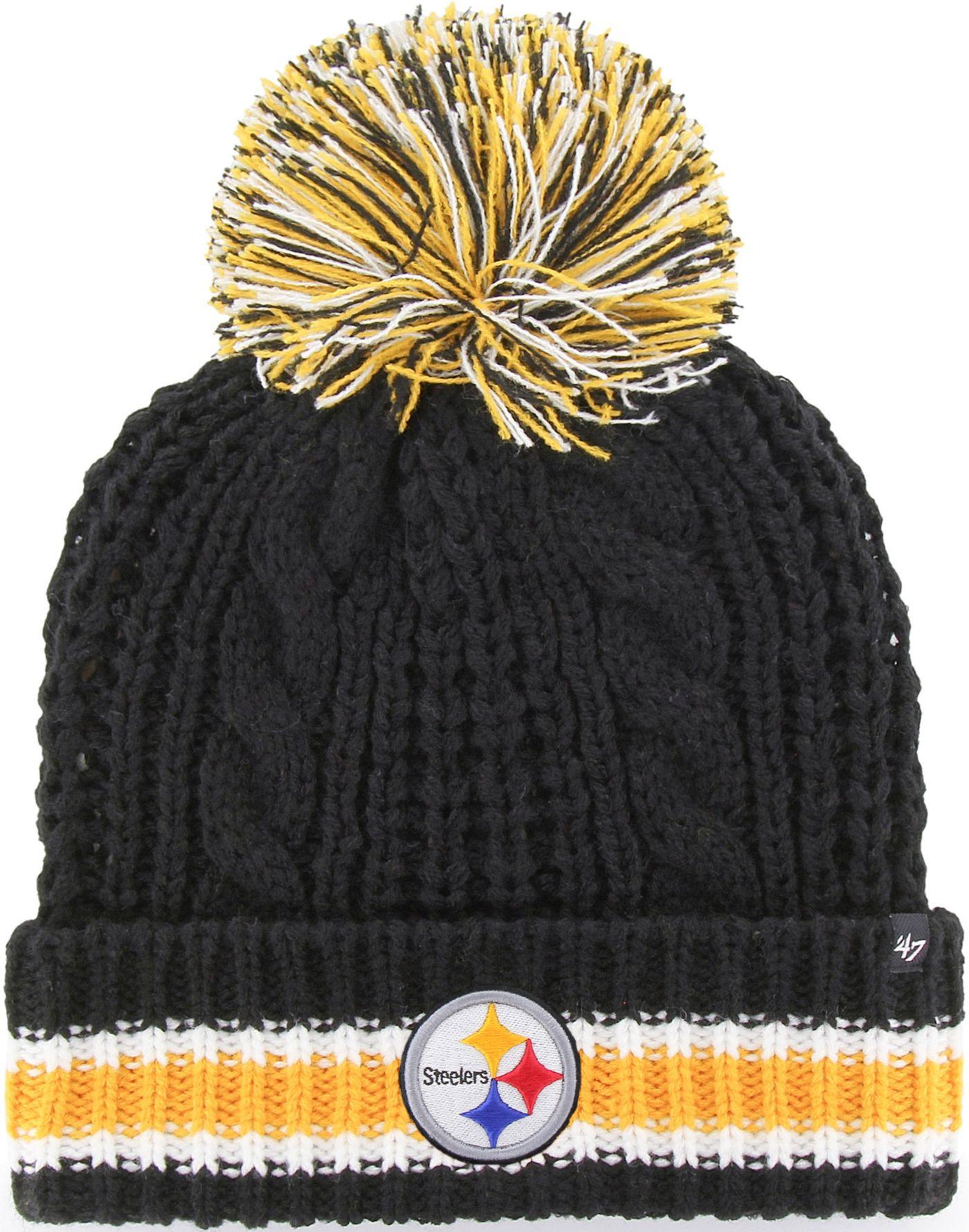 '47 Women's Pittsburgh Steelers Sorority Black Cuffed Pom Knit