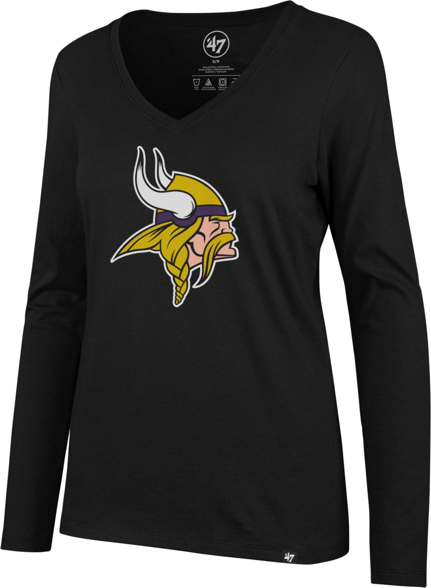 '47 Women's Minnesota Vikings Logo Black Long Sleeve Shirt
